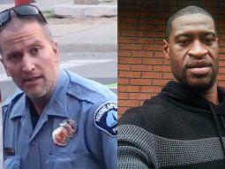 El agente Derek Chauvin (izquierda) fue acusado de asesinato en tercer  grado y de homicidio imprudente por la muerte del afroamericano George  Floyd (derecha), el pasado lunes, durante su detención en Mineápolis.