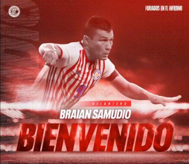 Braian Samudio es nuevo jugador de Toluca.