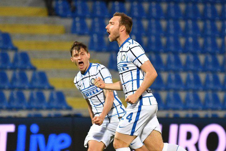Christian Eriksen anotó el gol de la victoria para el Inter y lo dejó a un paso del Scudetto.