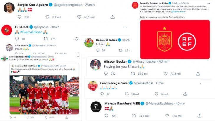 El mundo del fútbol se vuelca con Eriksen.