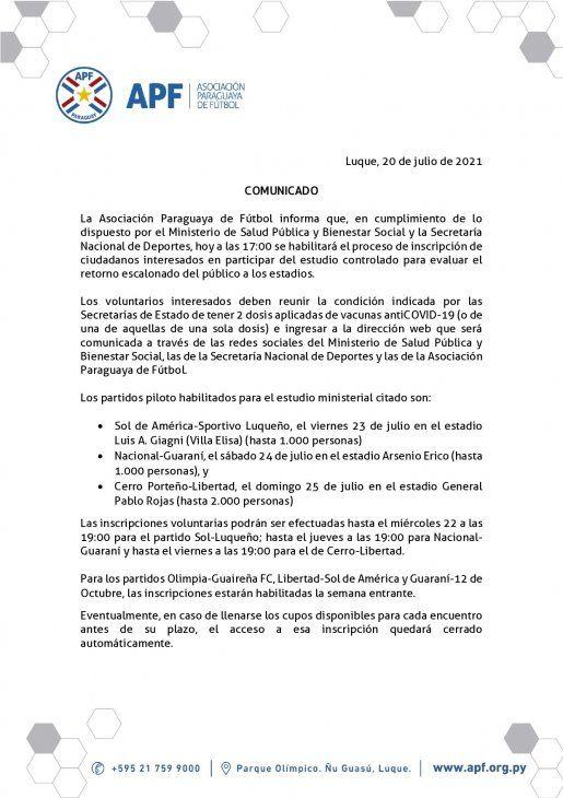 APF: Habilitan inscripción para la prueba piloto