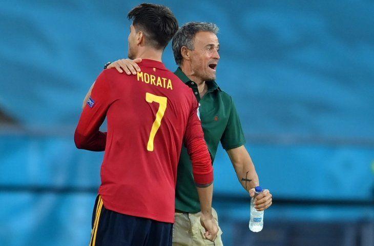 Luis Enrique y Álvaro Morata