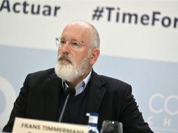 El vicepresidente ejecutivo de la Comisión Europea, Frans Timmermans, durante la rueda de prensa ofrecida en la Cumbre del Clima que se celebra estos días en Madrid.