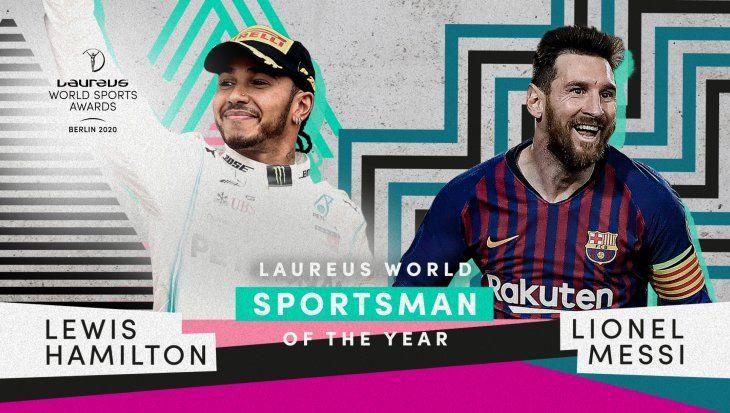 Leo Messi y Lewis Hamilton comparten el premio Laureus en Berlín.